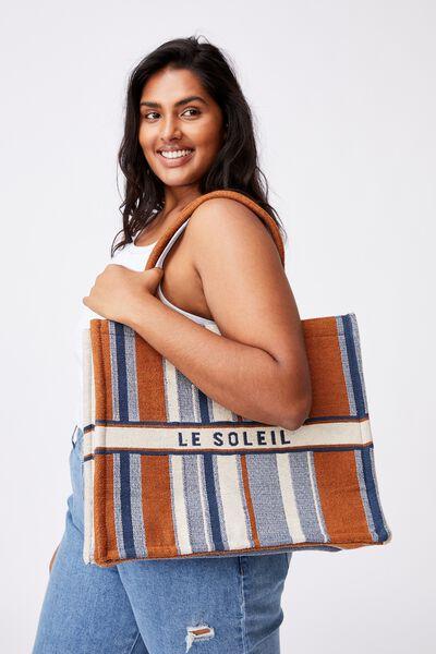 Weekender Tote Bag, STRIPE/LE SOLEIL
