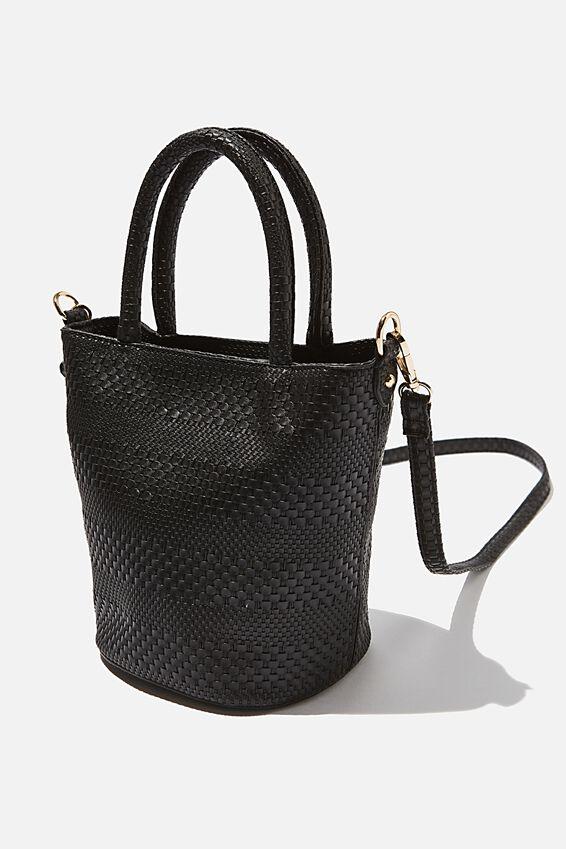 Woven Texture Bucket Bag, BLACK