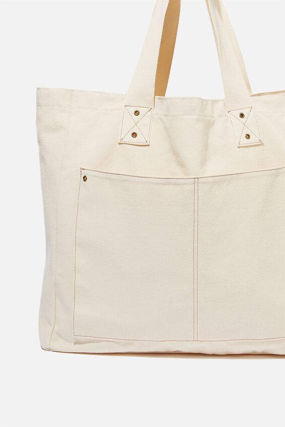 Max Washed Weekend Tote Bag, NATURAL