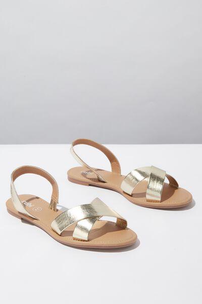 Everyday Banting Crossover Sandal, GOLD METALLIC