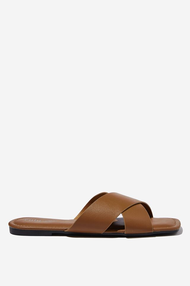 Everyday Sophie Xover Slide, TAN SMOOTH PU