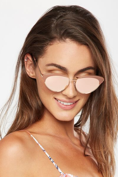 Hadley Top Brow Sunglasses, S.MILKY CAFE