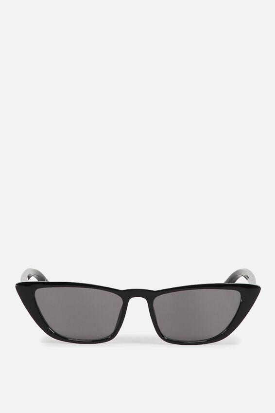 Vienna Short Frame Cat Eye Sunglasses, BLACK