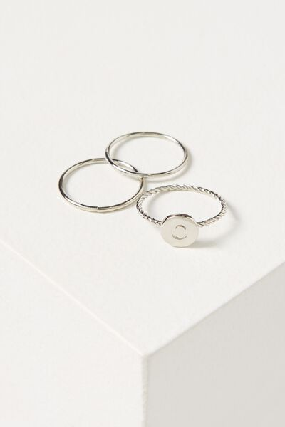 Letter Pendant Ring, SILVER - C