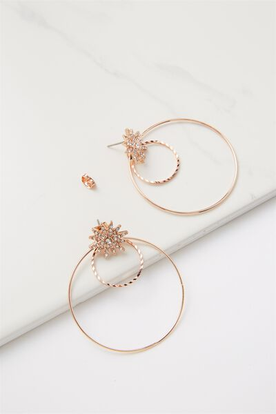 Penny Star And Hoop Earring, ROSE GOLD