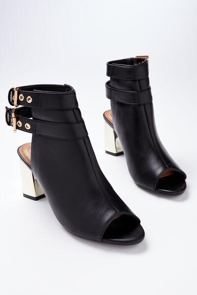 Danza Contrast Heel Bootie, BLACK
