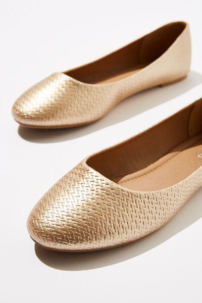 Britt Ballet, SOFT GOLD WOVEN EMBOSS PU