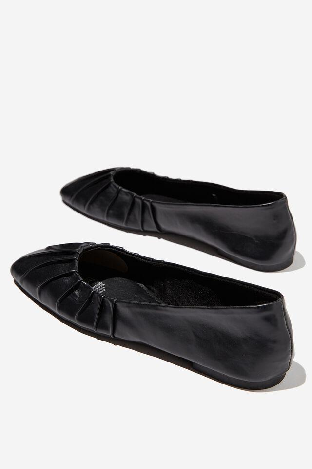 Square Toe Ballet, BLACK PU PLEAT