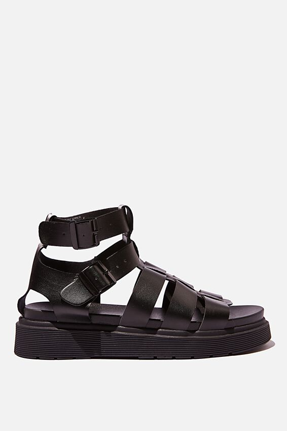 Fisherman Strap Combat Sandal, BLACK