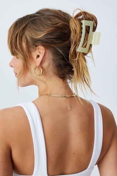 Amber Hair Claw, TRANSPARENT PALE LEMON