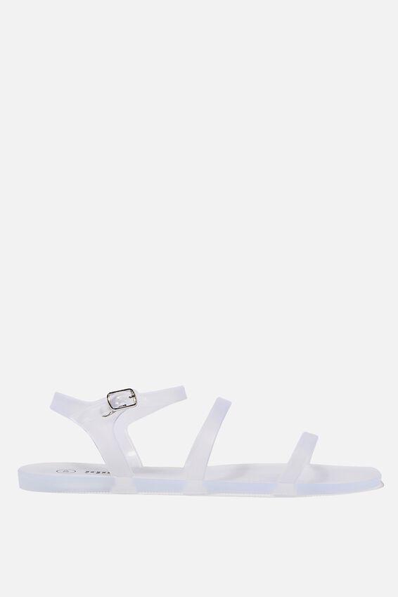 Triple Strap Jelly Sandal, FROSTY CLEAR