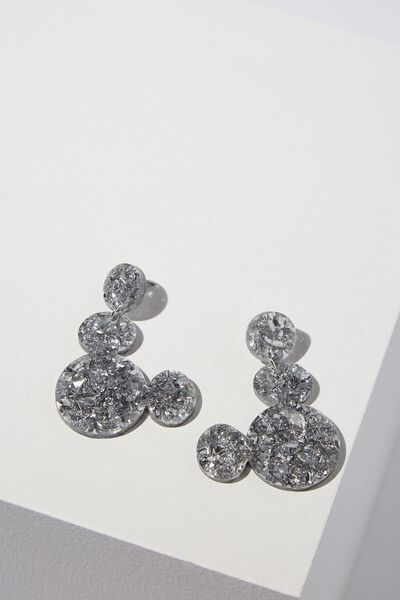 Perspex Mickey Statement Earring, SILVER