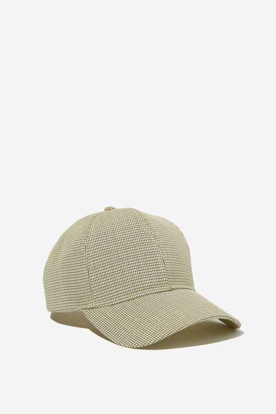 Selina Structured Cap, POPCORN YELLOW MICRO CHECK