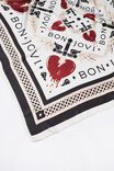 Fleur Large Satin Scarf, BON JOVI/HEART BORDER