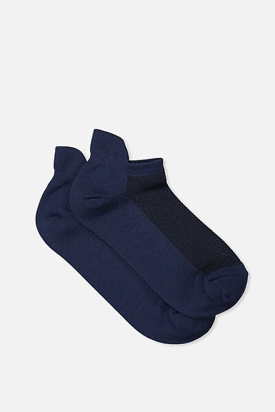 Mesh Ankle Tab Sock, DARK INDIGO