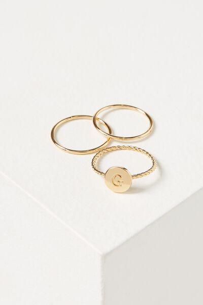 Letter Pendant Ring, GOLD - G
