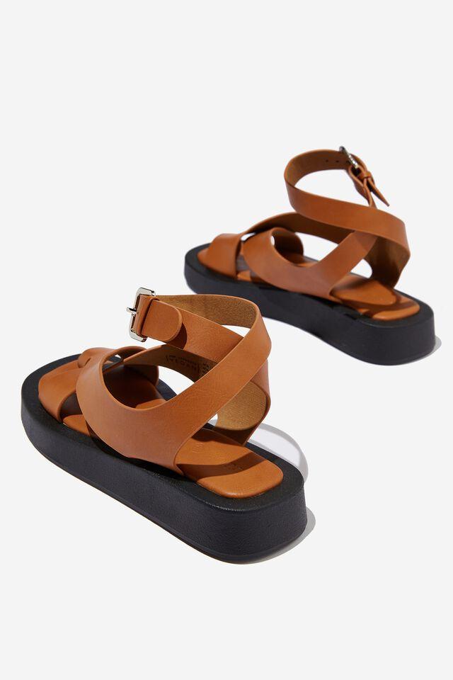 Sadie Ankle Strap Flatform, TAN SMOOTH PU