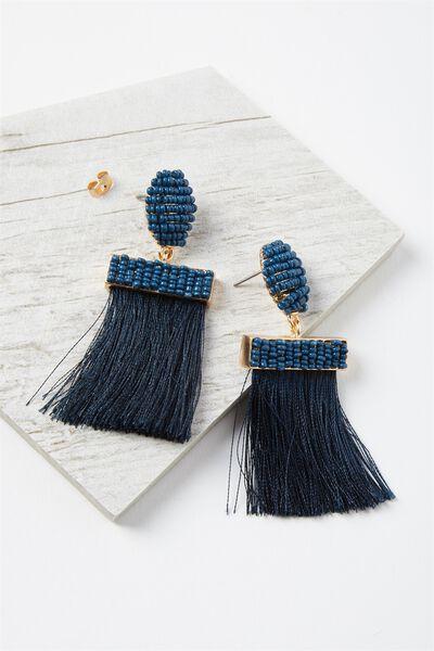 Beaded Curtain Earring, NAVY/GOLD