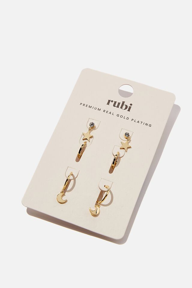 The Perfect Earrings Stack, GOLD PLATED STAR & MOON