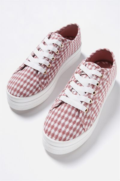 Willow Platform Sneaker, DUSTY ROSE GINGHAM