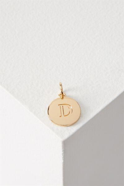 Letter Flat Pendant Charm, GOLD - D