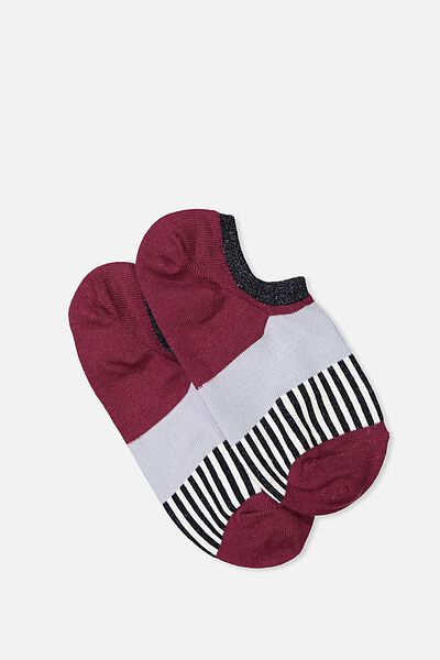Sports Low Cut Sock, STRIPE COLOUR BLOCK