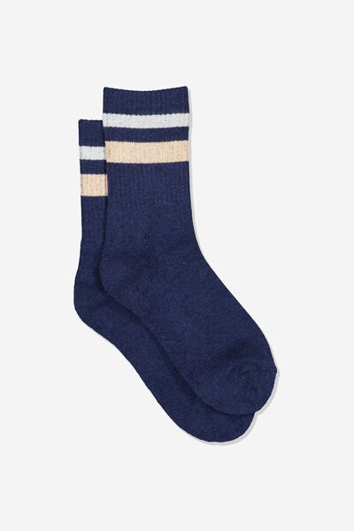 Sporty Stripe Crew Sock, NAVY WHITE/ CORAL TIPPING STRIP