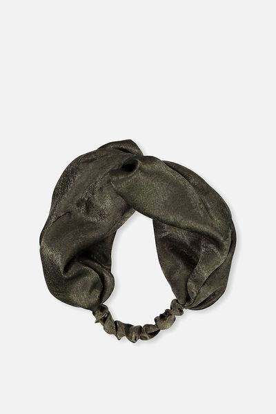 Manhattan Headband, KHAKI SATIN