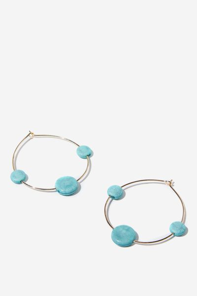 Harlow Hoop P&T Charm Earring, TURQUOISE/GOLD
