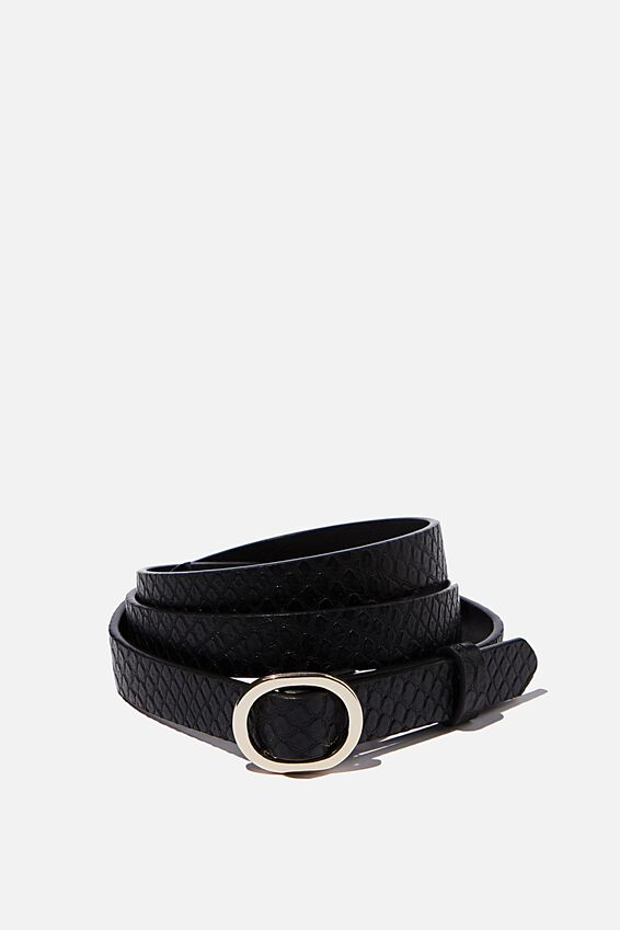 Mila Belt, BLACK FAUX REPTILE