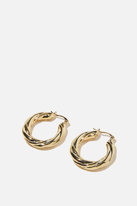Premium Mid Hoop, GOLD PLATED TWIST