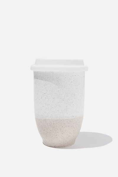 Double Walled Ceramic Travel Cup, NATURAL WHITE FLECK