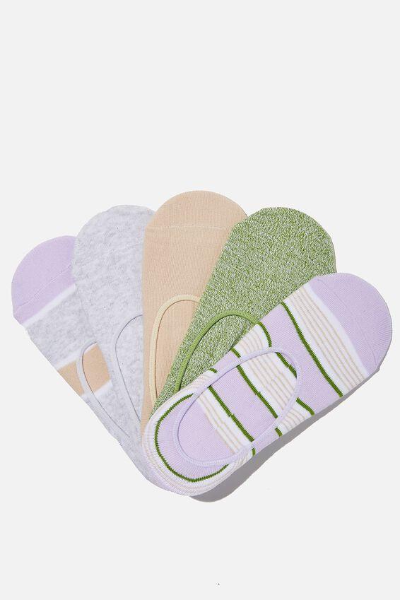 5Pk Low Cut Sock, SOFT ORCHID RETRO STRIPE MIX