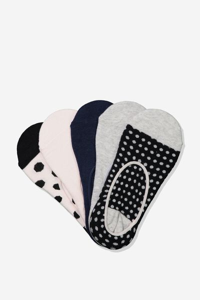 5Pk Low Cut Sock, BLACK MARTHA SPOT