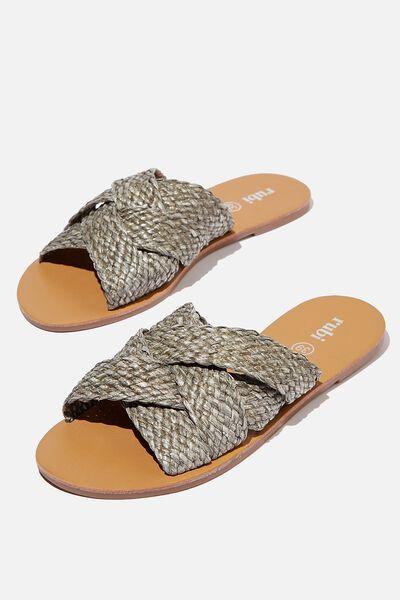 Aggy Woven Slide Sandal, KHAKI RAFFIA TAPE