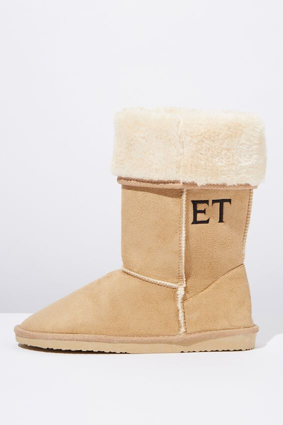 Personalised Tall Home Boot, HONEY TAN