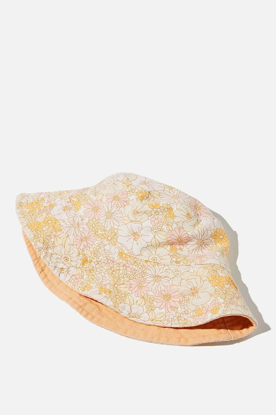 Elly Reversible Wide Brim Bucket Hat, CANDY PINK QUINN FLORAL
