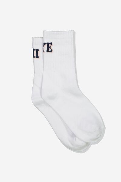 Fine Rib Sports Sock, WHITE HI/BYE