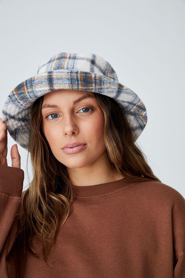 Bianca Bucket Hat, NAVY BRUSHED CHECK