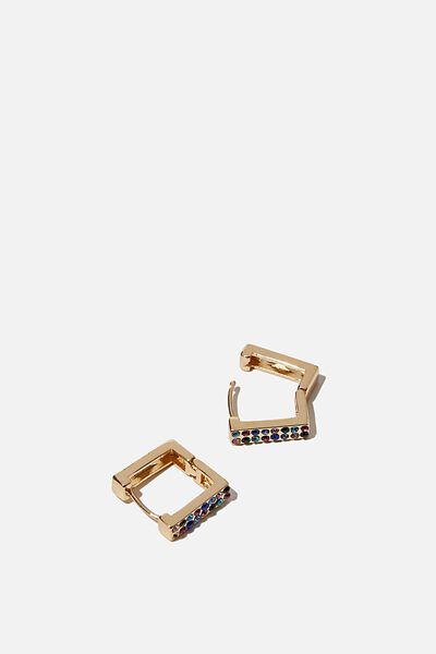Ear Party Huggie Hoops, GOLD RAINBOW SQUARE