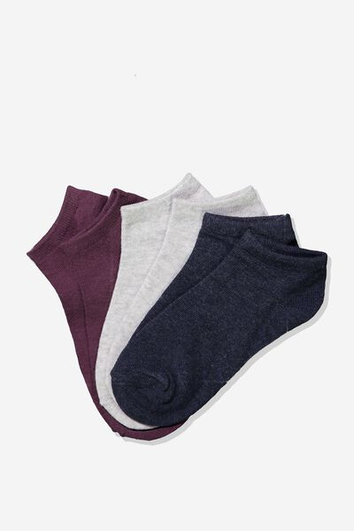 Bd 3Pk Ankle Sock, CRANBERRY/GREY/NAVY