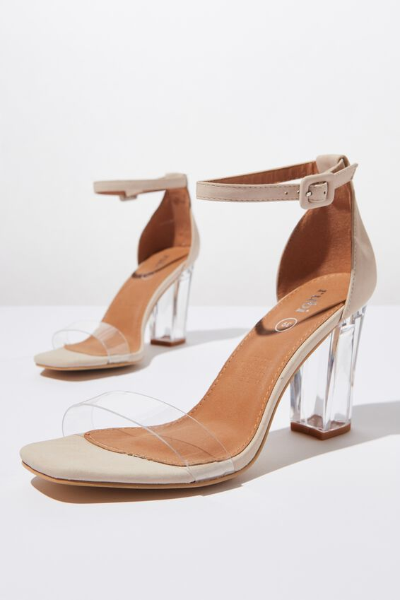 San Serena Square Toe Heel, CLEAR