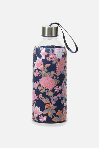1L Hydrator Waterbottle, NAVY FLORAL