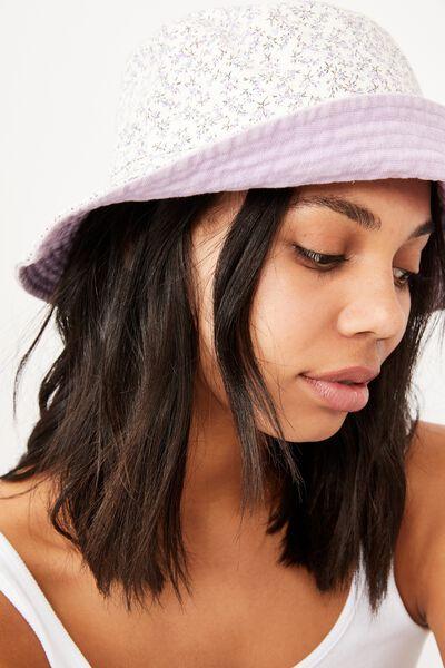 Elly Reversible Wide Brim Bucket Hat, WHITE RAMONA FLORAL
