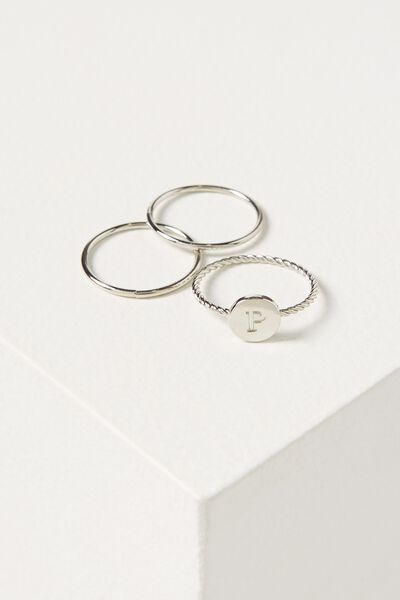Letter Pendant Ring, SILVER - P