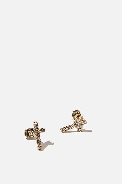 Premium Stud Earrings, DIAMANTE CROSS GOLD PLATED