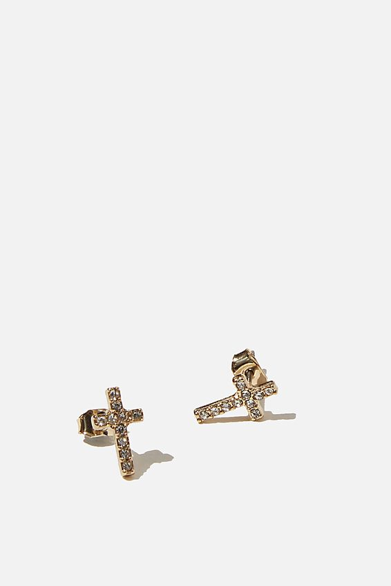 Premium Stud Earrings, DIAMANTE CROSS GOLD PLATED