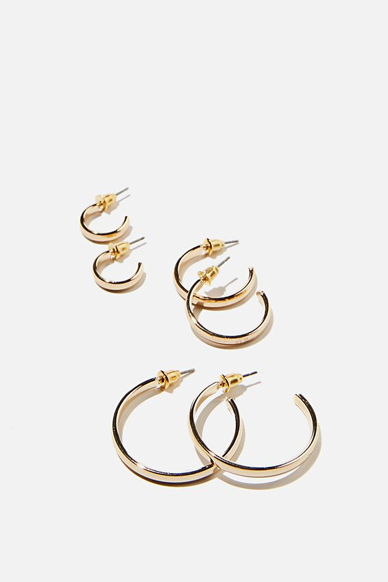 3Pk Luxe Layers Hoops, BASIC GOLD