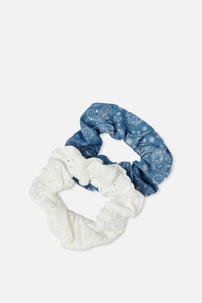 2Pk Scrunchie, CHAMBRAY PAISLEY/WHITE BROIDERY