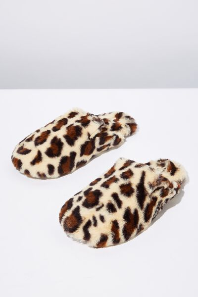 Poppy Slipper Scuff, SNOW LEOPARD